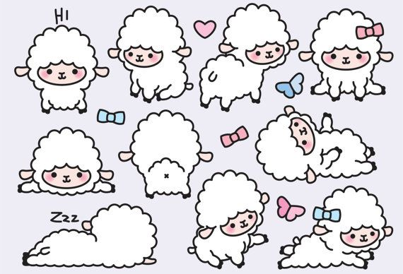 Premium Vector Clipart Kawaii Lambs Cute by LookLookPrettyPaper
