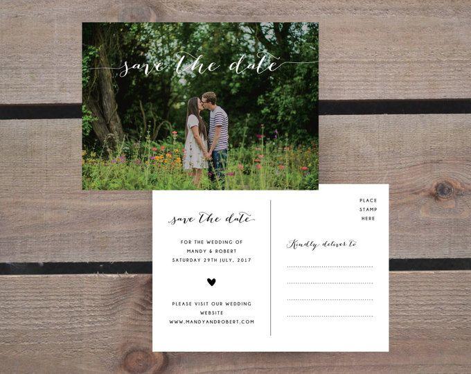 Save the Date PDF - personalisierte Foto Kalligraphie Herz Hochzeit sparen die Datum-Postkarte - DRUCKBARE DIY digitaler Download nur - rustikal