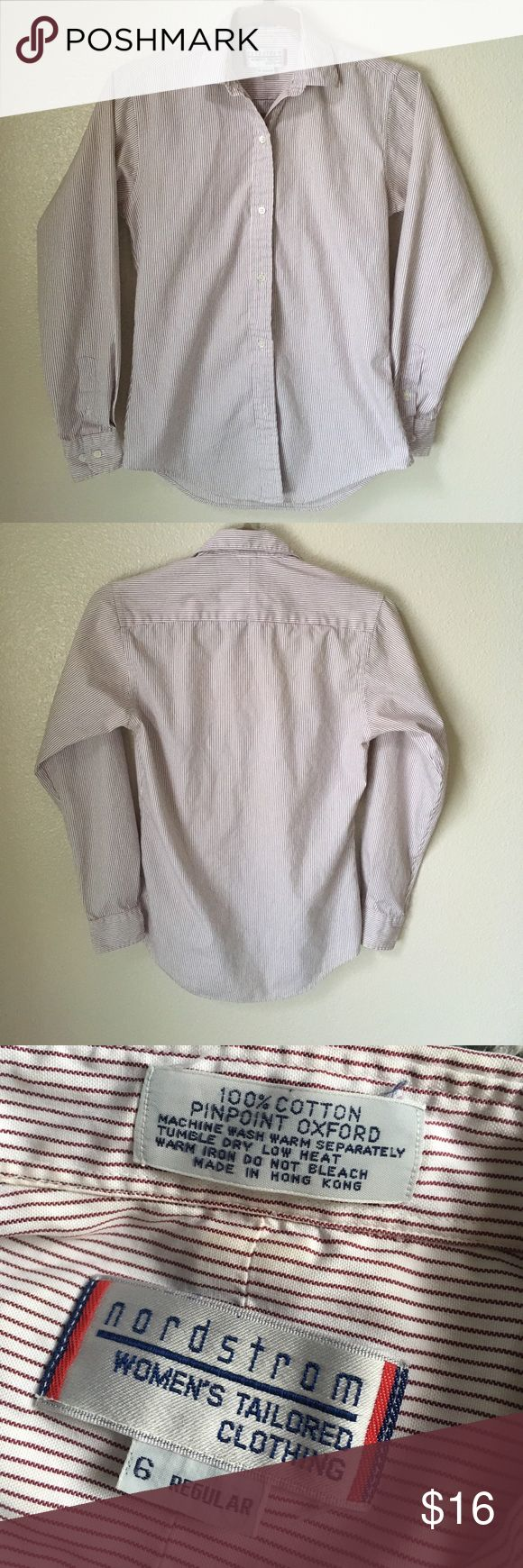 Vintage Nordstrom Pinpoint Oxford Button Down Great quality and very classy. Pinpoint Oxford from Nordstrom Women's Tailored Clothing. Size 6 regular. Armpit to armpit 17 in across, sleeve about 27.5 in, sleeve opening about 3.25 in or smaller. About 28.5 in long. White with burgundy stripes, gives the illusion of it being kind of pink (at least to me.) Nordstrom Tops Button Down Shirts