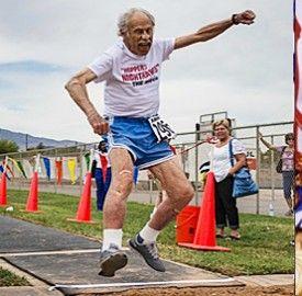 Julian Myers, Huntsman World Senior Games, St. George, Utah, October 2013  Photo courtesy of Shawn Kirton, St. George News