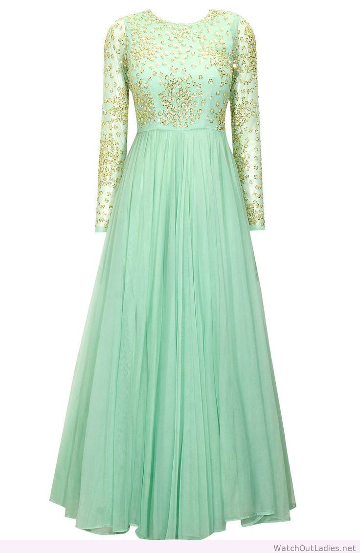 Wonderful mint green embroidered anarkali gown