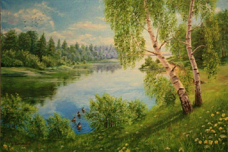 """Купить Картина маслом""""Летний день"""",пейзаж - пейзаж маслом, летний пейзаж, пейзаж маслом на холсте"""