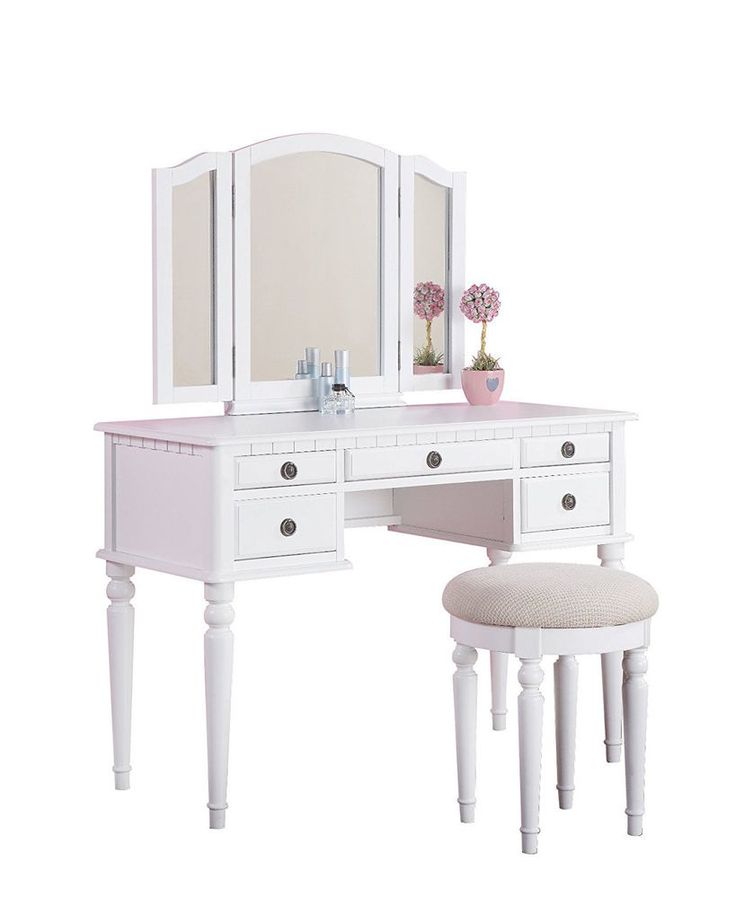 Bedroom Furniture For Teen Girls Vanity Set Stool White Attached Mirror 5  Drawer #Bobkona