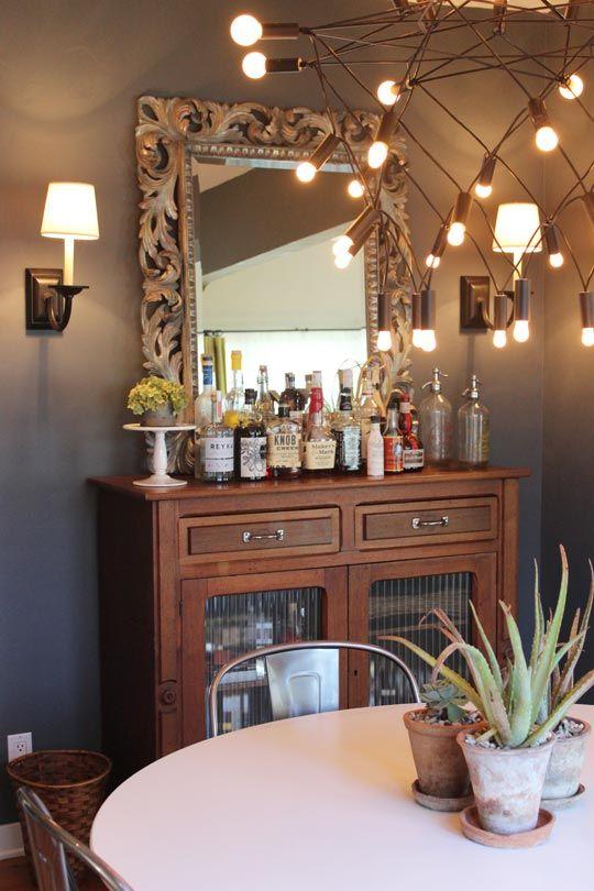 Grant & Mark // Apartment Therapy: Dining Rooms, House Tours, Neglect House, Apartment Therapy, Mark Transformers, Lighting Fixtures, Homes Bar, Bar Area, Bar Carts