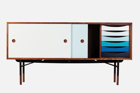 Finn Juhl designed the FJ Sideboard with its coloured sliding doors and trays, in 1955 for BOVIRKE