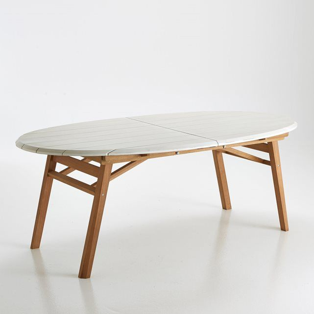 Tifenn Solid Eucalyptus Oval Garden Table La Redoute Interieurs : price, reviews and rating, delivery. Tifenn Solid Eucalyptus Oval Garden Table. With a simple, contrasting and very contemporary theme, the Tifenn table features an extremely elegant and unusual design.Folding legs to make it easier to store away and save space.2 white extensions.Size:Length: 200 cm.Length with 1 extension: 230 cmLength with 2 extensions: 260 cmHeight: 73 cmDepth: 103 cmExtension: length 103 x width 30 cm…