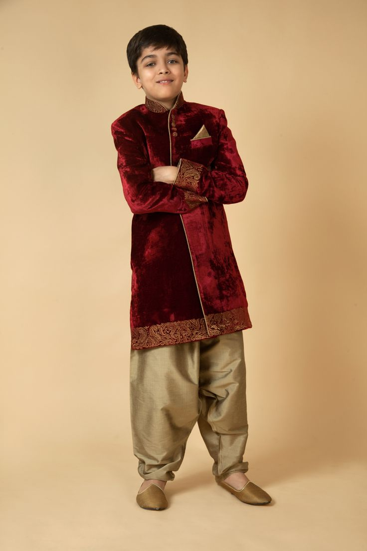 Velvet sherwani with polyster patiala with zari embroidery. Item number KB15-31