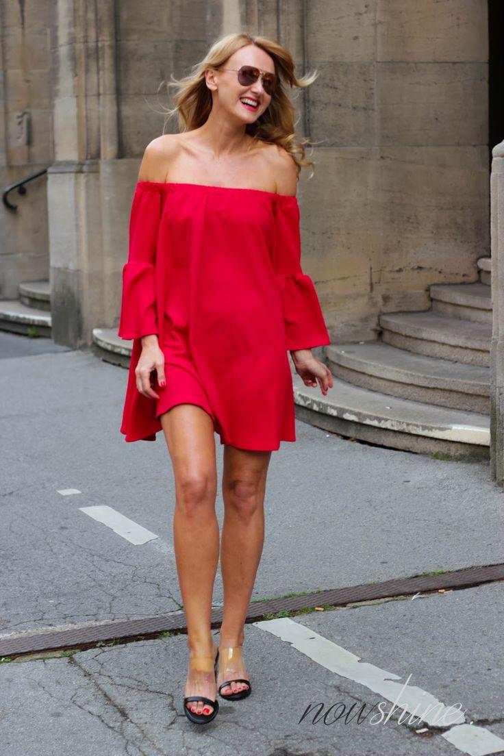 Red Off-Shoulder Dress by Asos, Mango Heels Plexiglas