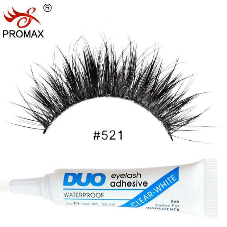 PROMAX 521 False Eyelashes 3 Pairs Handmade Natural Long Black Winged Japanese Fake Eye Lashes With 1 PCS DUO Eyelash Glue