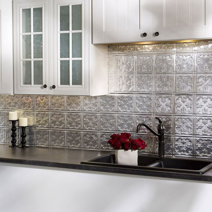 Fasade Traditional Style 10 Brushed Aluminum 18 In X 24 In Backsplash Panel By Fasade