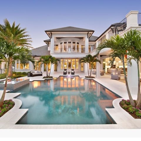 Exterior pool view 2015 golf magazine dream home set in for Pool design naples fl