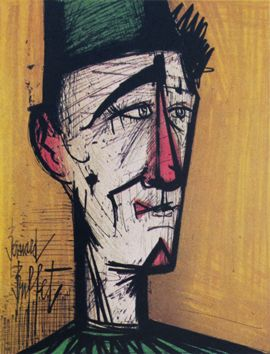 Buffet Bernard : Lithographie originale : Le clown Jojo