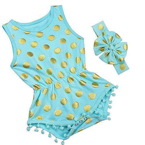 iiniim S��es Baby M�dchen Strampler Spielanzug Sommer Overall Bodysuit Kleidung Outfit Mit Stirnband Blau 62-68/3-6 Monate