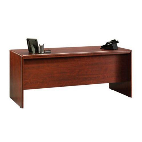 Sauder Office Furniture Cornerstone Collection Classic Cherry Executive Desk with Laptop Drawer  Simple, contemporary design. A straightforward style that puts functionality above flair. That's Cornerstone from Sauder Woodworking. With precisely rounded corners and edges that lend an air of comfort, Cornerstone is the right choice for when you need to get to workThe Cornerstone Executive Desk with Laptop Drawer makes the perfect centerpiece for your office. Two utility drawers with m..