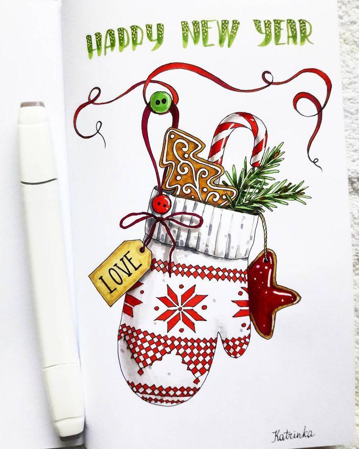 Днем рождения, скетчи открыток новый год