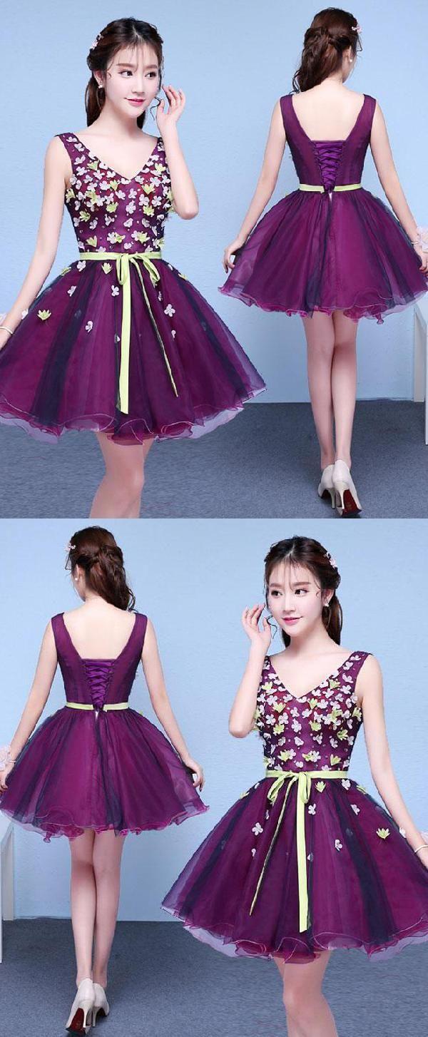 Prom dresses short purple prom dresses luu in short