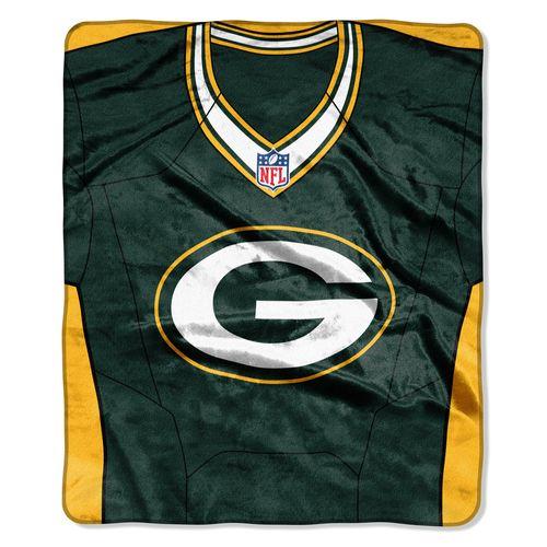 Green Bay Packers Blanket 50x60 Raschel Jersey Design
