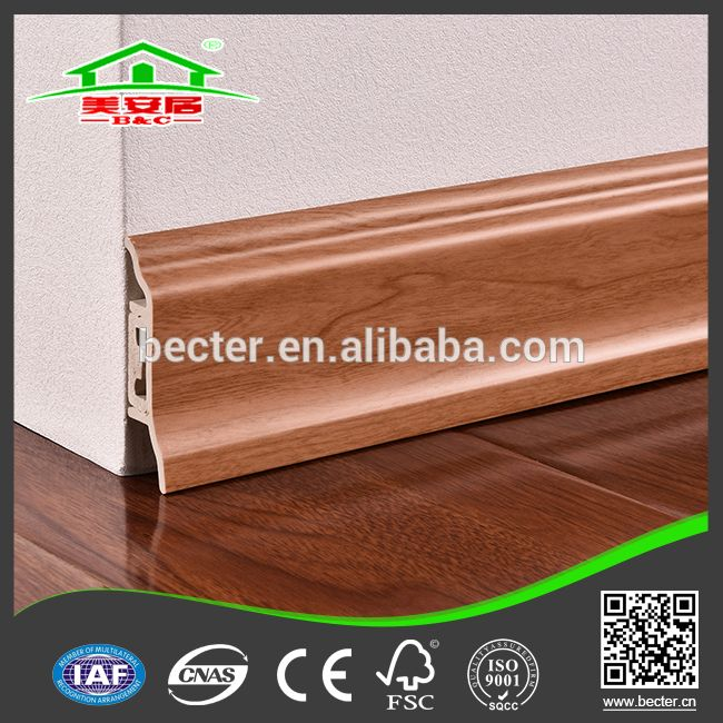 PVC Profile Cherry Rubber Floor Skirting Board Cover For Malaysia
