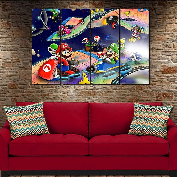 Mario Kart Canvas Poster 4 Panel Large Canvas Art Wall Art Picture Decor Interior Design Birthday Gift B Large Canvas Art Wall Art Pictures Canvas Poster
