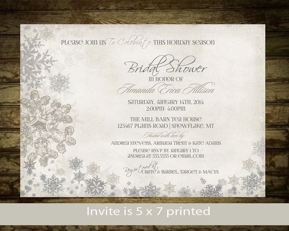 Winter Bridal Shower Invitations  Snowflake door NotedOccasions, $35.00