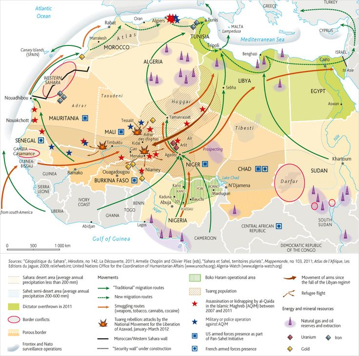 40 maps of the Middle East-- explain a lot about history, economics and current events. (this one shows How Libya's 2011 War changed Africa):