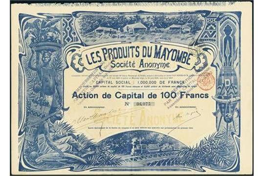 Les Produits de Mayombe S.A. Action F 100, 1899, #6075 Very striking design of natives, narrow g