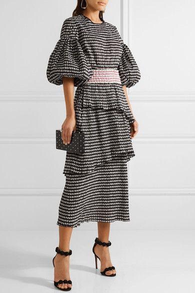 Black and white seersucker Slips on 41% polyester, 31% polyamide, 28% cotton; lining: 93% silk, 7% spandex Dry clean