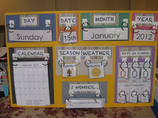 One teacher's Morning Meeting calendar board. I love the idea of the rings on hooks. Also! Check out the great list of web tools to use in the classroom!!