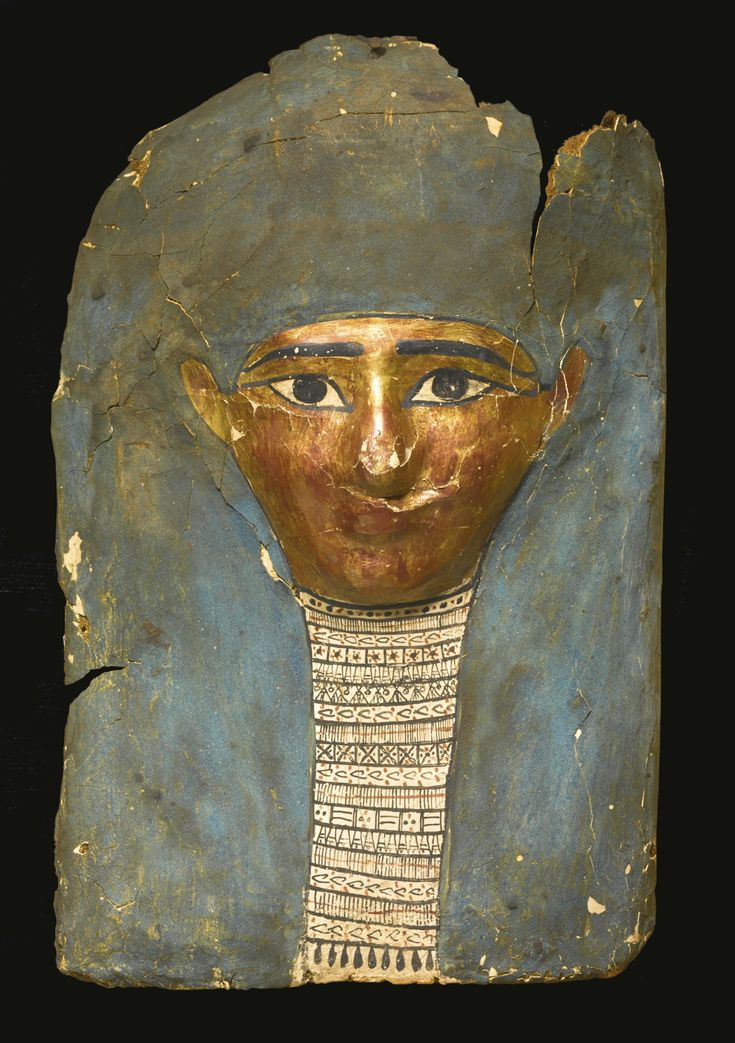 An Egyptian Polychrome and Gilt Cartonnage Mummy Mask, late Ptolemaic Period, circa 100-30 B.C. | lot | Sotheby's: