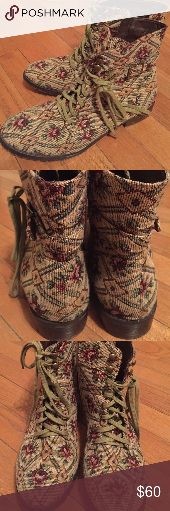 Restricted tapestry combat boots Tapestry boots by Restricted, bought from Modcloth. Beige with green and red floral print. Worn only a few times, only visible wear is on the soles (I will clean them before shipping). Restricted Shoes