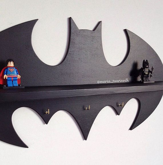 Wooden shelf Batman 177 in x 95 in 3 hooks by Purplepollen