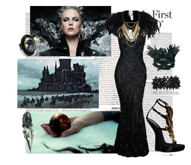 """4. Ravena, The Fairset of Them All"" by kyohono ❤ liked on Polyvore featuring Bruce Oldfield, River Island, Giuseppe Zanotti, Raven Denim, feathers, long black dress and snow white and the huntsman"