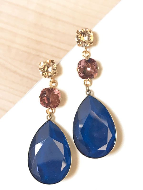 9072d14630a4 Pendientes triples de cristal Swarovski en tonos azul