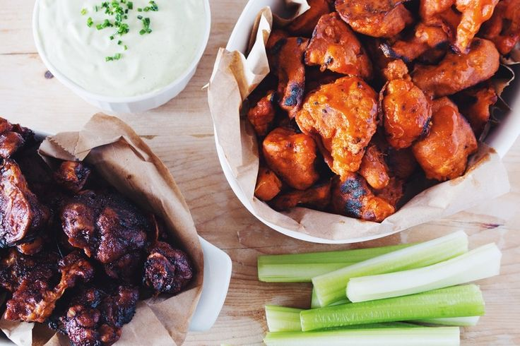 how to make #vegan cauliflower buffalo wings & ranch dip | recipe on hotforfoodblog.com