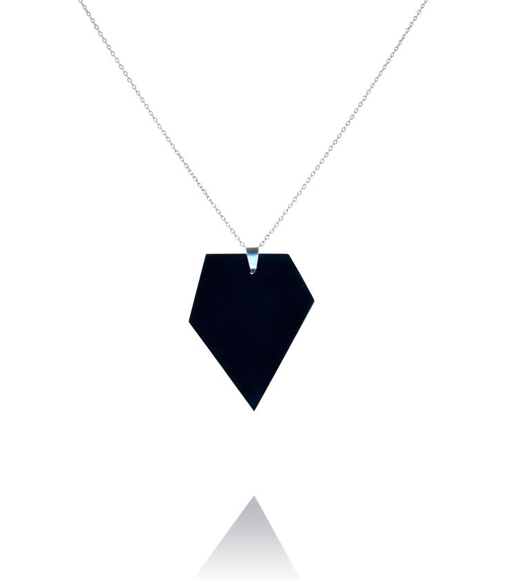 Long necklace with a polygon Diamond pendant  #DiLeonora #jewellery #jewelry #black #simplyblack #necklace #silver