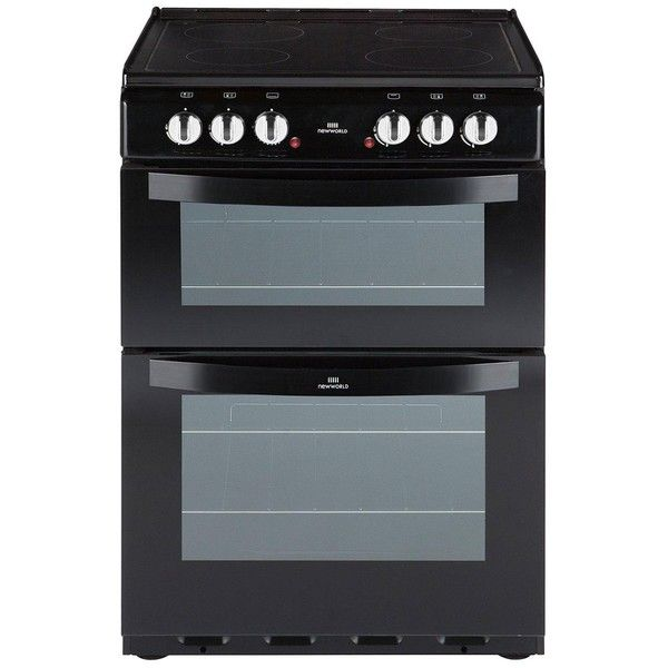 New World Nw 601Edo 60Cm Electric Ceramic Double Oven Black ($585) ❤ liked on Polyvore featuring home, kitchen & dining, small appliances, potato cooker, electric grill, electric roasting oven, electric cooker and air cooker