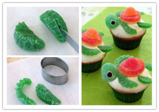 Turtle Topped Cupcakes, SOOOO...CUTE ! :)  Check recipe --> http://wonderfuldiy.com/wonderful-diy-sweet-turtle-cupcakes/