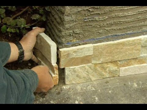 This Old House landscape contractor Roger Cook dresses up a block wall with stone-veneer panels. (See below for a shopping list and tools.) Click here to SUB...