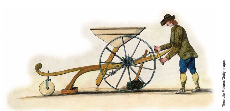 1700- Englishman Jethro Tull invents a seed drill to plant seeds uniformly.  Its use requires far fewer seeds than strewing by hand & results in better yields.  At the same time, the English adopt the Dutch innovation of planting fallow furrows with clover or turnips to regenerate nitrogen rather than just losing a third of their planting space each year.  In addition, the clover or turnips serve as feed through the winter to sustain animals which would have had to be slaughtered previously.
