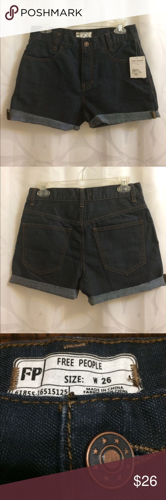 Free People Shorts Size 26 Super Cute Free People Shorts, size 26. These were originally pants (style called stormy) that were cut and made into shorts. They were purchased from a Nordstrom Outlet. High waisted and super cute. Shorts Jean Shorts