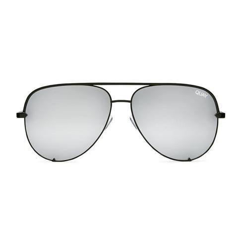 Quay Australia Desi | High Key Sunglasses in Black/Silver Mirror