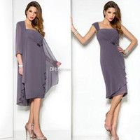 UK 2018 New Purple Beach Mother Of The Bride Dresses With Coat Knee Length Chiffon Cheap Mother Dress Wedding Guest Gowns Plus Size Custom DHgate Mobile