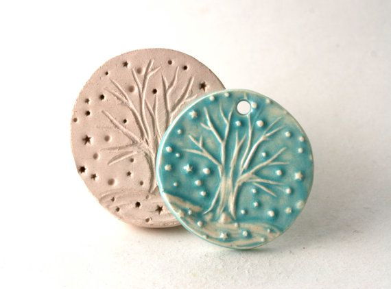 Ceramic Stamp -- Winter Snow Tree with Bare Branches and Snowflakes Clay Stamp -- Handmade Tool for Pottery Ceramics Polyclay Jewelry