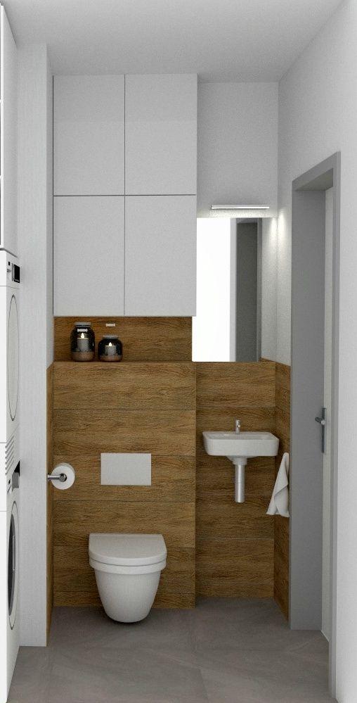 Małą łazienka Biel Drewno Pralka I Suszarka Metamorfoza