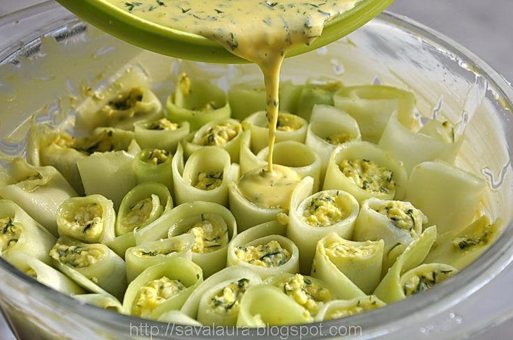 Rulouri de dovlecei cu branza la cuptor | Retete culinare cu Laura Sava