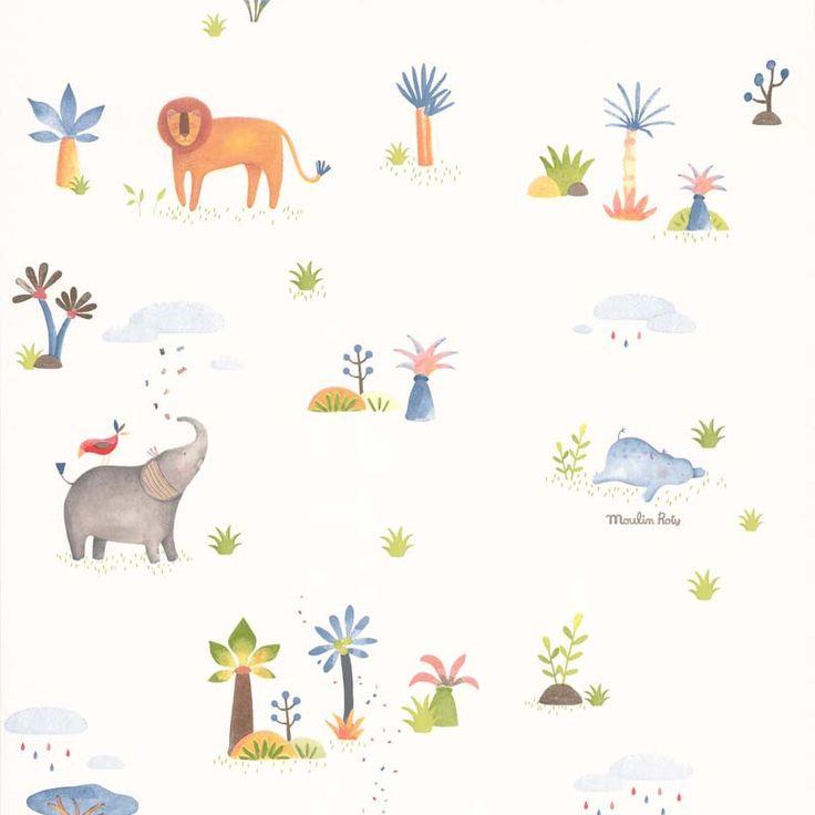Papier peint ANIMAUX LES PAPOUM - 658401 de la collection papier peint Les petits curieux - Lutèce papier peint