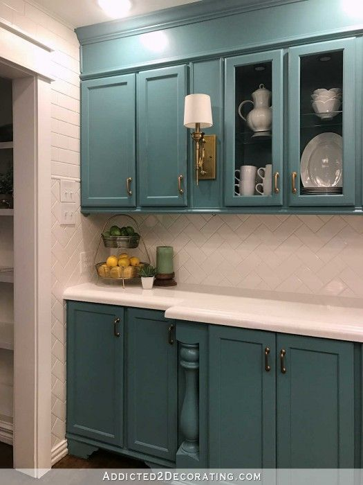My Finished-For-Now Kitchen: From Kelly Green To Teal (Before & After