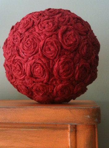 Handmade 6 Quot Topiary Kissing Ball Red Crepe Paper Roses On Etsy 14 95 F3 Pinterest Red