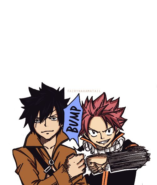 Anime Characters Using Fist : Natsu and gray fist bump a so epic even