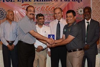 Mr. Ajmal Naseeb KCCA Zone I giving Shield to Dr. Noman Palikar